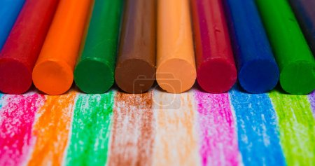 close up of colorful crayons background