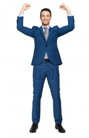 Photo for Handsome businessman raising arms in sign of victory isolated on white background - Royalty Free Image