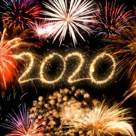Photo for 2020 New Year fireworks background - Royalty Free Image