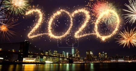 Photo pour 2020 Nouvel An feux d'artifice sur New York - image libre de droit