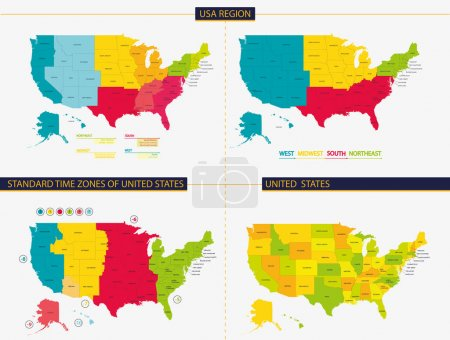 United states. Standard time zones of united states. USA region