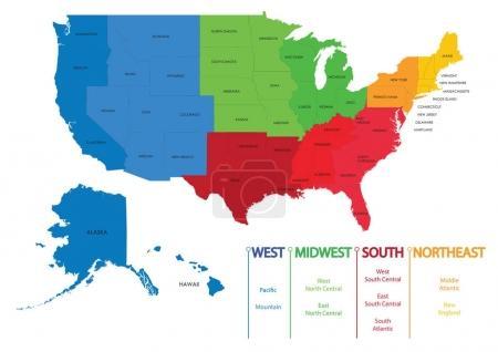Karte von uns Regionen. Karten USA
