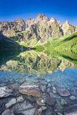 Stunning sunrise at lake in the Tatra Mountains, Poland, Europe