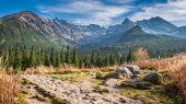 Wonderful path to the mountain valley in Tatras in autumn