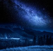 Milky way and Tatra Mountains in Poland