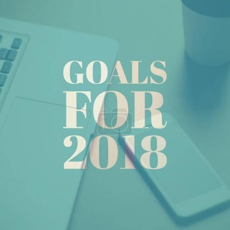 goals for 2018 on computer laptop