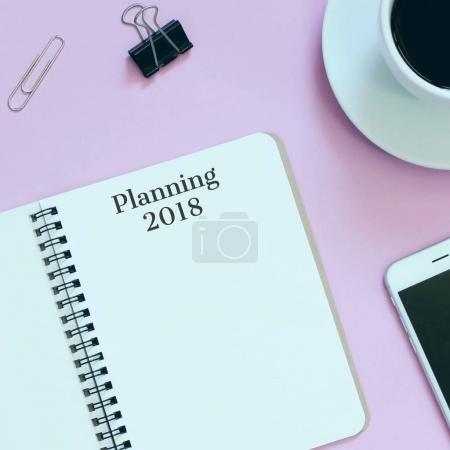 Planning 2018 on blank notebook