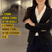 Inspirational motivation quote about women power and leadership word on successful businesswoman standing confident with smiling