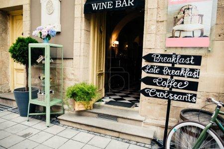 facade of classic wine bar