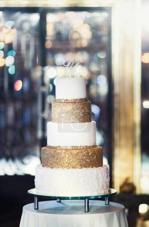 Delicious  wedding cake  on table