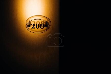 Photo pour Numéro de porte de l'hôtel, image rapprochée - image libre de droit