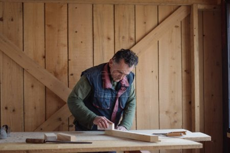 Middle age carpenter working in workshop