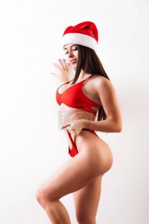 WOman  red swimsuit on HAppy new year
