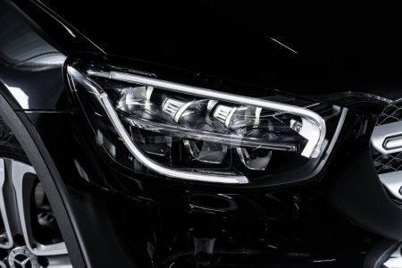 Photo for Novosibirsk, Russia  October 10, 2019:  Mercedes-Benz GLS-Class, black car headlights. Exterior detail. Close up detail on one of the LED headlights modern car. - Royalty Free Image