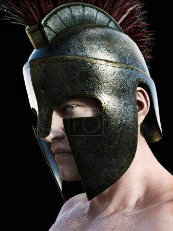 Spartan warrior wearing traditional helmet .Angled profile looking toward the camera on a black background.