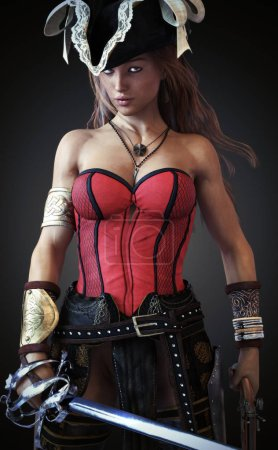 Sexy Pirate female posing with a sword and Pistol