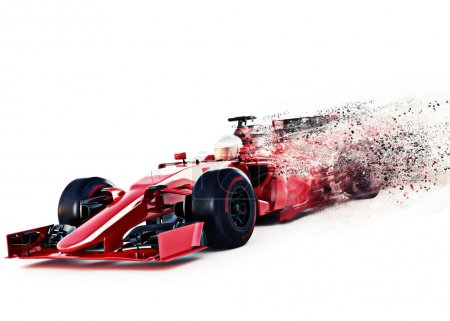 Red motor sports race car front angled view speeding on a white background with speed dispersion effect.