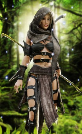 Mysterious wood elf warrior in a mystical forest setting.