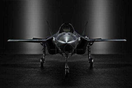 Photo pour Jet secret F35 avancé dans un endroit secret avec éclairage à silhouette. Rendu 3d - image libre de droit