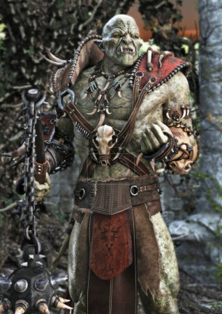 Portrait of a powerful armored orc. 3d rendering...