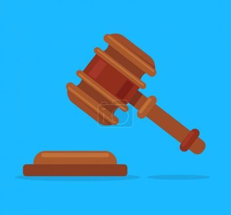 Illustration pour Juge en bois isolé marteau sur fond bleu. Juge Hammer. Symbole de justice. Illustration vectorielle de dessin animé plat - image libre de droit