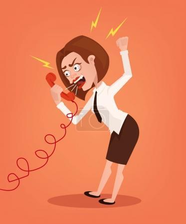 Illustration pour Femme d'affaires en colère bureau travailleur personnage consultant crier et crier au téléphone. Illustration vectorielle de dessin animé plat - image libre de droit