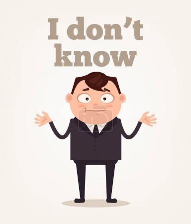 Illustration pour Ouvrier de bureau caractère homme ne comprennent pas. Illustration vectorielle de dessin animé plat - image libre de droit