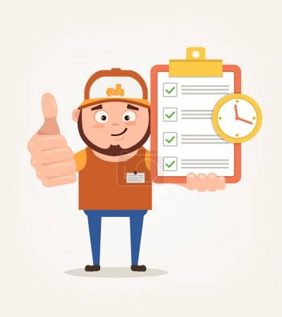 Happy smiling delivery man courier character hold check list. Vector flat cartoon illustration