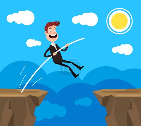 Illustration for Brave office worker businessman character jumping over precipice rock. Business risk challenge career achievement concept. Vector flat cartoon graphic design illustration - Royalty Free Image