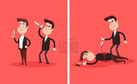 Illustration pour Colère mauvais employé collègue ami meurtre meurtre poignardage avec couteau patron homme d'affaires partenaire personnage dans son dos derrière. Trahison criminelle accident entreprise carrière concept de concurrence. Un cadavre ensanglanté. dessin animé vectoriel design graphique plat - image libre de droit