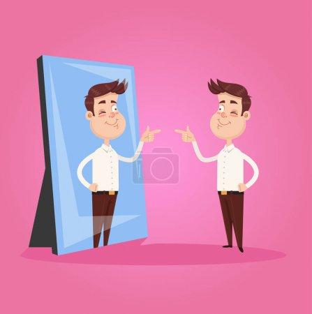 Illustration pour Heureux sourire narcissique homme d'affaires de bureau caractère regarde miroir et pointant du doigt à la réflexion. Concept de motivation d'auto-soutien. Illustration vectorielle d'éléments isolés - image libre de droit