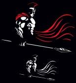 Illustration of Spartan warrior on black background in 2 color versions