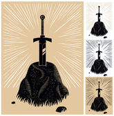 Illustration of King Arthurs Excalibur linocut style 4 color versions