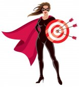 Female superhero over white background holding target