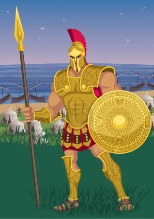 Achilles near the Greek camp on the Trojan shore....