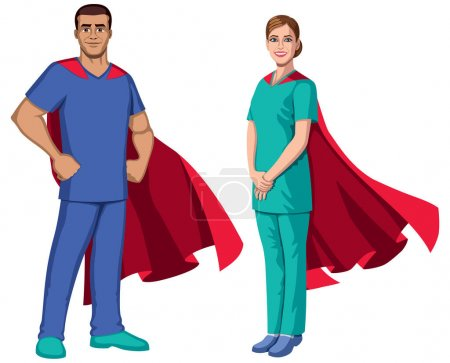 Illustration for Male and female registered nurses or health care workers with superhero capes, on white background. - Royalty Free Image
