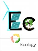 Flash card letter E is for Ecology