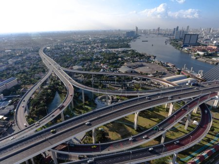 Aerial view of bangkok busy highway taken in after...