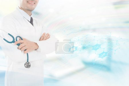 Photo for Asian male medical doctor on white background, useful for medical, hospital, medication, surgent, medical advise, doctor, health care concepts - Royalty Free Image