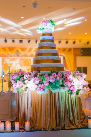 Wedding cake in wedding event .  ( Filtered image processed vint