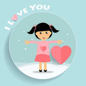 Valentines day background design with Cute girl Vector illustration