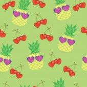 Pineapples  and heart shaped cherries seamless pattern vector illustration