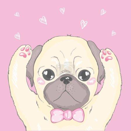 Illustration pour Modèle sans couture vectoriel avec chiots chien dessin animé mignon. Peut être utilisé comme fond, papier peint, tissu et pour tout autre motif design.French Bulldog - image libre de droit