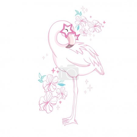 Illustration for Cute flamingo with sunglasses, vector illustration, summer print design. - Royalty Free Image