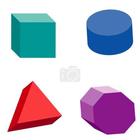 Illustration pour Ensemble coloré de formes géométriques, solides platoniques, illustration vectorielle - image libre de droit