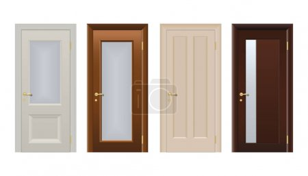 Illustration for Colorful front doors to houses and buildings set in flat design style isolated, vector illustration. Set of modern colored doors isolated on white. Closed elegant doors isolated, decoration . - Royalty Free Image