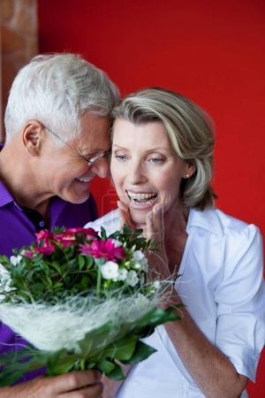 Senior Couple With Bouquet