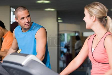 Man and woman training