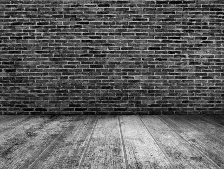 Photo for Black and white grunge room interior with brick wall background - Royalty Free Image