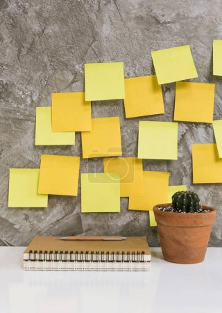 Colorful post it,memo notebook,pencil,cactus in flowerpot on whi